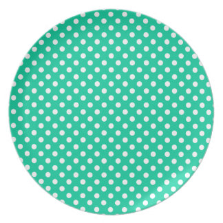 Polka Dots - White on Caribbean Green Party Plate