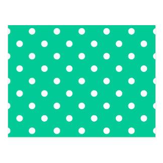 Polka Dots - White on Caribbean Green Postcard