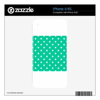 Polka Dots - White on Caribbean Green Decals For iPhone 4