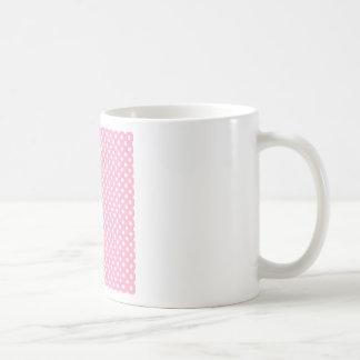 Polka Dots - White on Carnation Pink Mugs