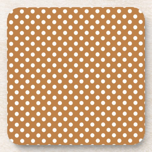 Polka Dots - White on Copper Beverage Coasters