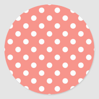 Polka Dots - White on Coral Pink Classic Round Sticker