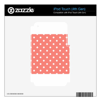 Polka Dots - White on Coral Pink iPod Touch 4G Decals