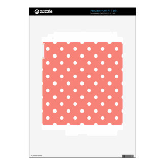 Polka Dots - White on Coral Pink iPad 2 Decal
