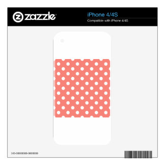 Polka Dots - White on Coral Pink Skin For The iPhone 4S