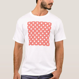 Polka Dots - White on Coral Pink T-Shirt