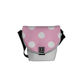Polka Dots - White on Cotton Candy Messenger Bag