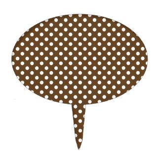 Polka Dots - White on Dark Brown Cake Topper