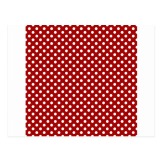 Polka Dots - White on Dark Candy Apple Red Post Cards