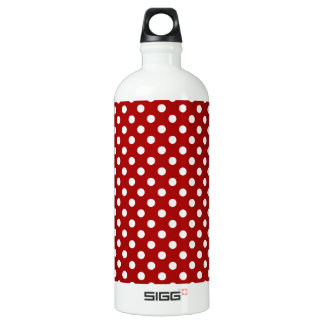 Polka Dots - White on Dark Candy Apple Red Water Bottle