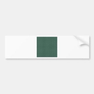 Polka Dots - White on Dark Green Bumper Stickers