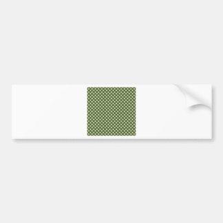 Polka Dots - White on Dark Olive Green Bumper Stickers