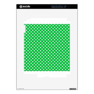 Polka Dots - White on Dark Pastel Green iPad 2 Decals