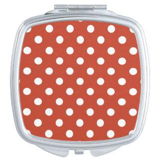 Polka Dots - White on Dark Pastel Red Compact Mirror
