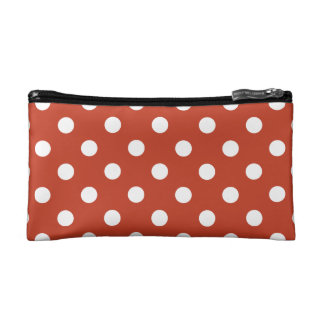 Polka Dots - White on Dark Pastel Red Cosmetic Bag