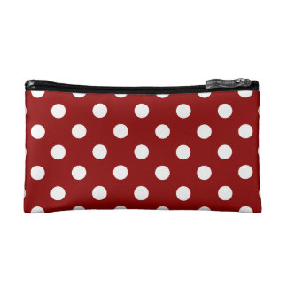 Polka Dots - White on Dark Red Cosmetic Bag