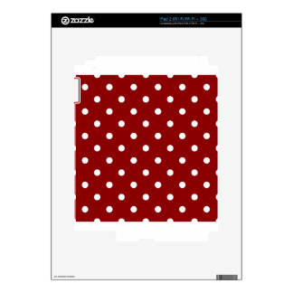 Polka Dots - White on Dark Red iPad 2 Skin