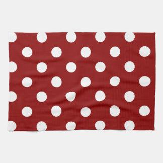 Polka Dots - White on Dark Red Kitchen Towel