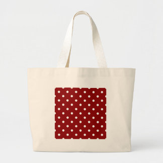 Polka Dots - White on Dark Red Large Tote Bag