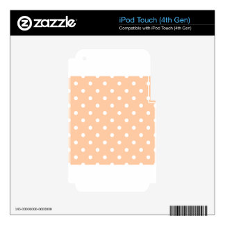 Polka Dots - White on Deep Peach Skin For iPod Touch 4G