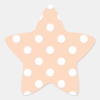 Polka Dots - White on Deep Peach Star Sticker