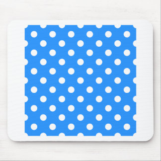 Polka Dots - White on Dodger Blue Mouse Pad