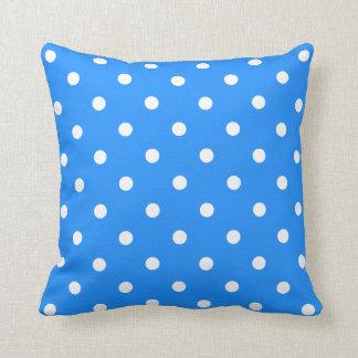 Polka Dots - White on Dodger Blue Pillow
