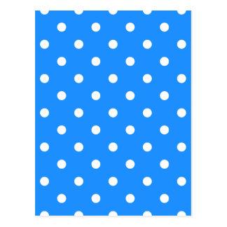 Polka Dots - White on Dodger Blue Postcard