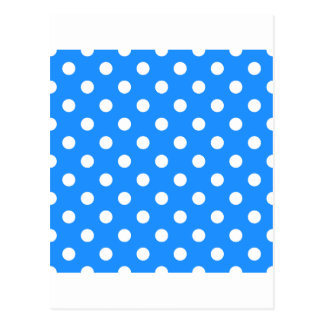 Polka Dots - White on Dodger Blue Postcard
