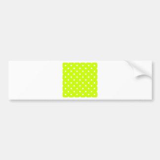 Polka Dots - White on Fluorescent Yellow Bumper Sticker
