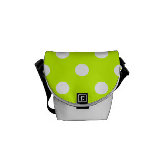 Polka Dots - White on Fluorescent Yellow Messenger Bag