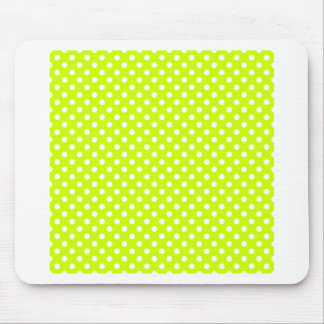 Polka Dots - White on Fluorescent Yellow Mouse Pad