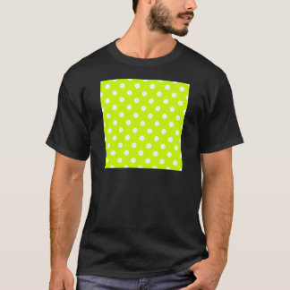 Polka Dots - White on Fluorescent Yellow T-Shirt