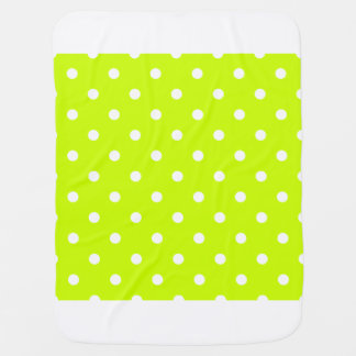 Polka Dots - White on Fluorescent Yellow Baby Blankets