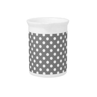 Polka Dots - White on Gray Pitcher
