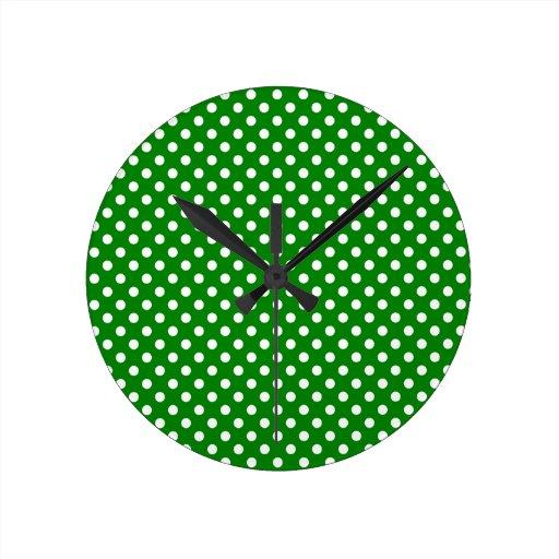 Polka Dots - White on Green Clock
