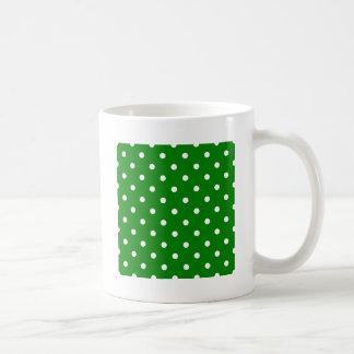 Polka Dots - White on Green Mugs