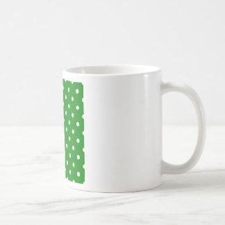 Polka Dots - White on Green Mug