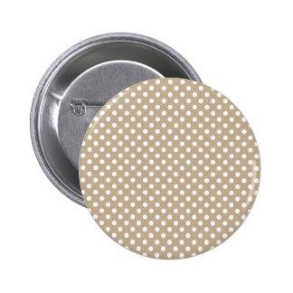 Polka Dots - White on Khaki Pin