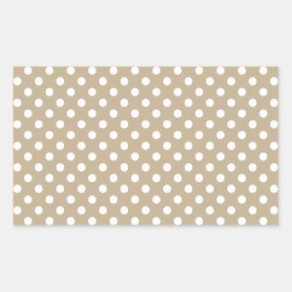 Polka Dots - White on Khaki Rectangular Sticker