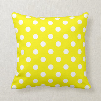 Polka Dots - White on Lemon Yellow Throw Pillow