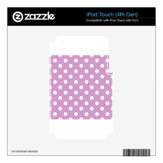 Polka Dots - White on Light Medium Orchid Skins For iPod Touch 4G