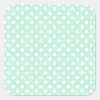 Polka Dots - White on Magic Mint Square Sticker