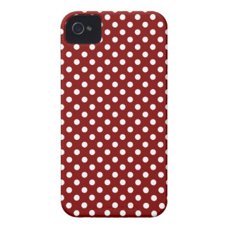 Polka Dots - White on Maroon iPhone 4 Cases