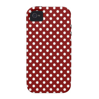 Polka Dots - White on Maroon iPhone 4/4S Covers