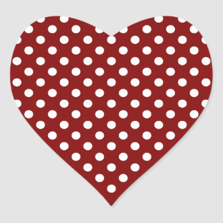 Polka Dots - White on Maroon Heart Sticker