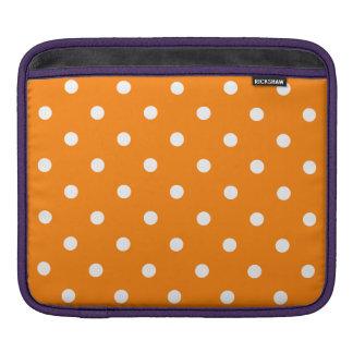 Polka Dots - White on Orange Sleeve For iPads