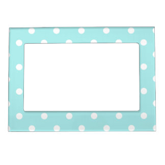 Polka Dots - White on Pale Blue Magnetic Photo Frames