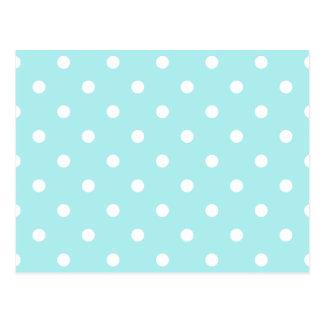 Polka Dots - White on Pale Blue Postcard