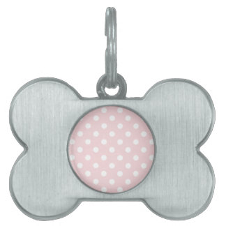 Polka Dots - White on Pale Pink Pet Name Tag